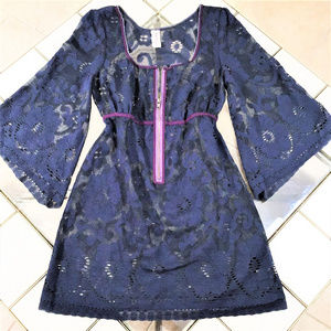 Free People Navy Blue Boho Cover- Up, Size L